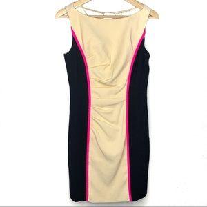 Milly cream black hot pink wool Sheath Dress
